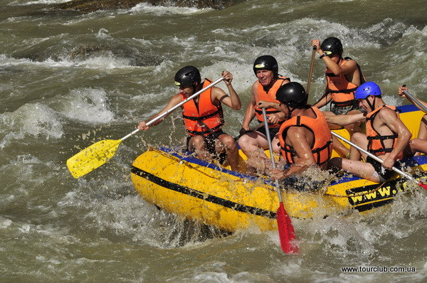 Rafting on the Cheremosh.Whitewater rafting in summer