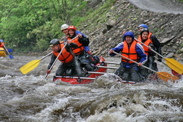 rafting on the Cheremosh in the Carpathians. catamaran in Huchok rapid