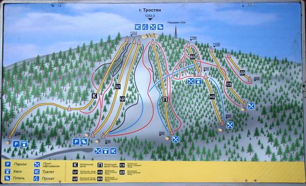 Схема склонов горы Тростян