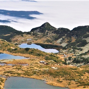 Trekking on mountain chain Rila in Bulgaria